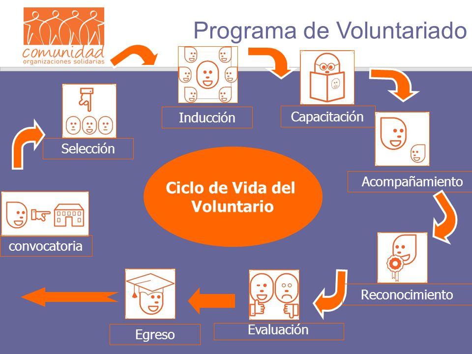 Ciclo de Vida del Voluntario convocatoria Selección Inducción Capacitación Acompañamiento Evaluación Egreso Programa de Voluntariado Reconocimiento