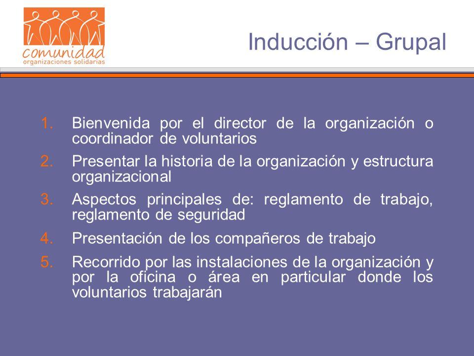 Inducción – Grupal 1.Bienvenida por el director de la organización o coordinador de voluntarios 2.Presentar la historia de la organización y estructur