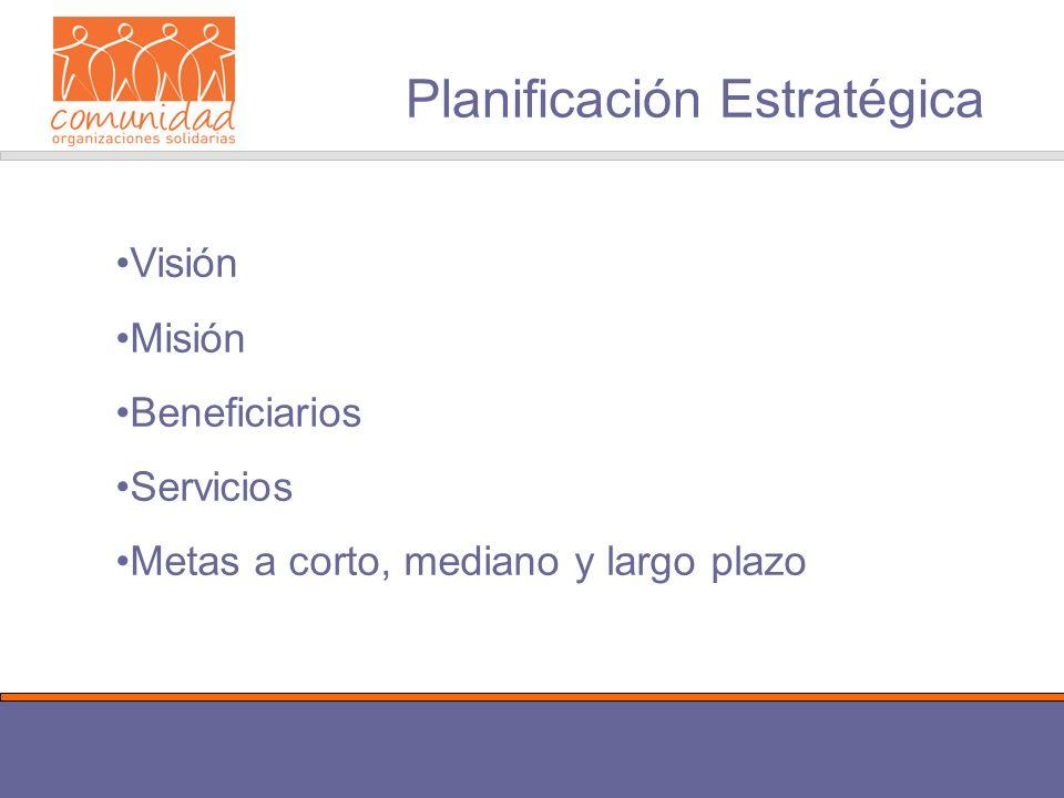 Planificación Estratégica Visión Misión Beneficiarios Servicios Metas a corto, mediano y largo plazo