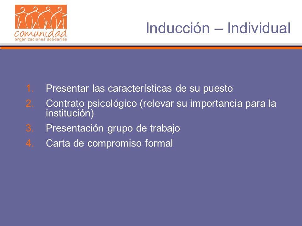 Inducción – Individual 1.Presentar las características de su puesto 2.Contrato psicológico (relevar su importancia para la institución) 3.Presentación