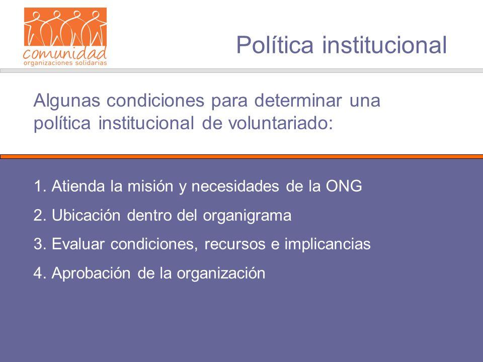 Política institucional 1.Atienda la misión y necesidades de la ONG 2.Ubicación dentro del organigrama 3.Evaluar condiciones, recursos e implicancias 4