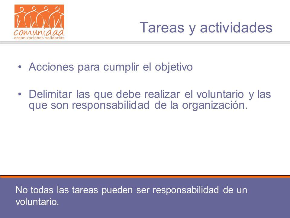 Tareas y actividades Acciones para cumplir el objetivo Delimitar las que debe realizar el voluntario y las que son responsabilidad de la organización.