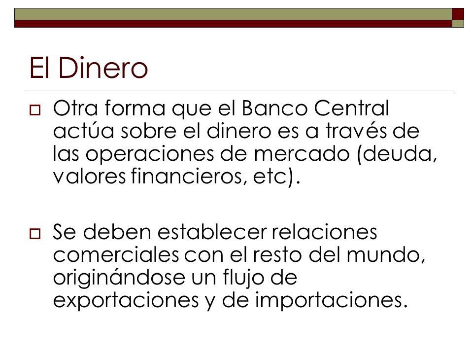 El Dinero Otra forma que el Banco Central actúa sobre el dinero es a través de las operaciones de mercado (deuda, valores financieros, etc). Se deben