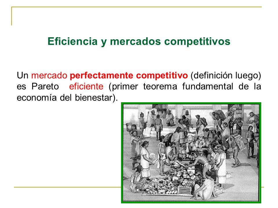 12 Eficiencia y mercados competitivos Un mercado perfectamente competitivo (definición luego) es Pareto eficiente (primer teorema fundamental de la ec