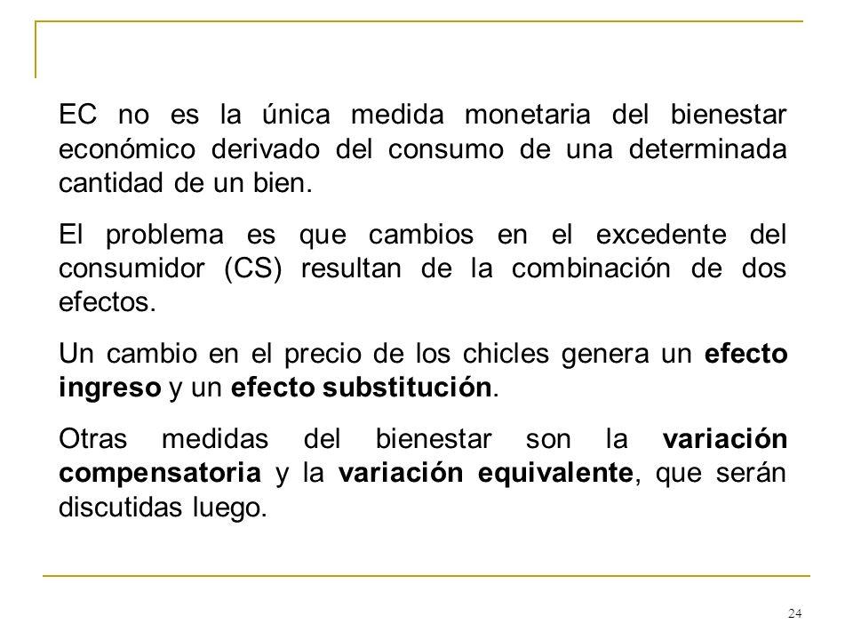 24 EC no es la única medida monetaria del bienestar económico derivado del consumo de una determinada cantidad de un bien. El problema es que cambios