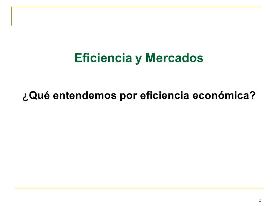 3 Eficiencia y Mercados ¿Qué entendemos por eficiencia económica?