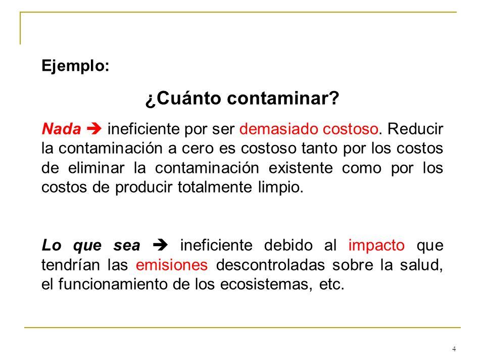 4 Ejemplo: ¿Cuánto contaminar? Nada ineficiente por ser demasiado costoso. Reducir la contaminación a cero es costoso tanto por los costos de eliminar