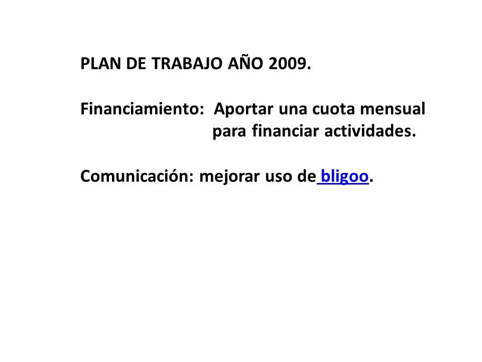 PLAN DE TRABAJO AÑO 2009. Financiamiento: Aportar una cuota mensual para financiar actividades. Comunicación: mejorar uso de bligoo. bligoo