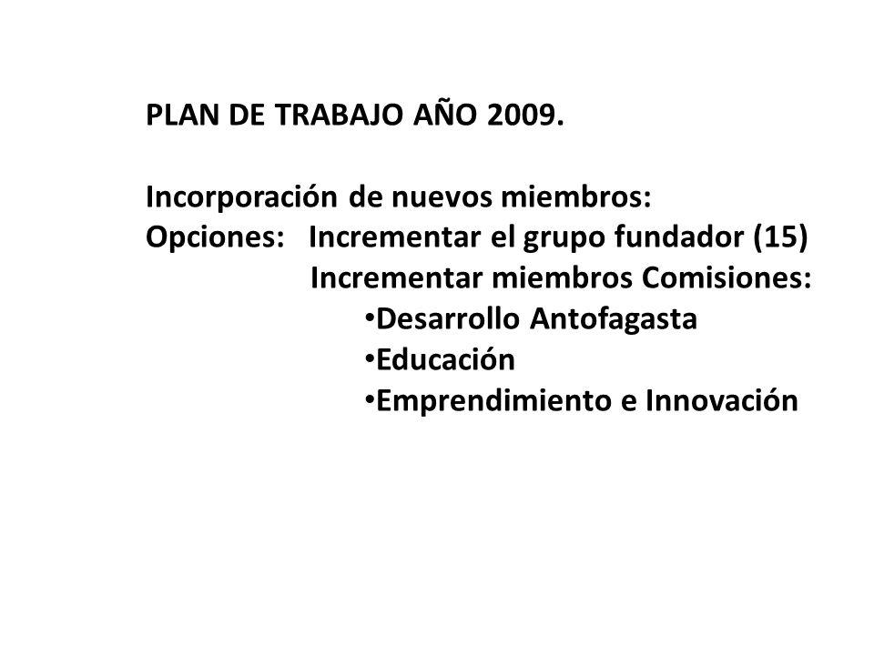 PLAN DE TRABAJO AÑO 2009. Incorporación de nuevos miembros: Opciones: Incrementar el grupo fundador (15) Incrementar miembros Comisiones: Desarrollo A