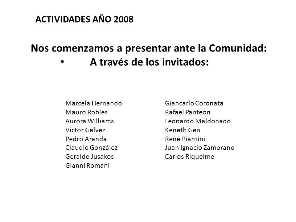 Nos comenzamos a presentar ante la Comunidad: A través de los invitados: ACTIVIDADES AÑO 2008 Marcela Hernando Mauro Robles Aurora Williams Víctor Gál