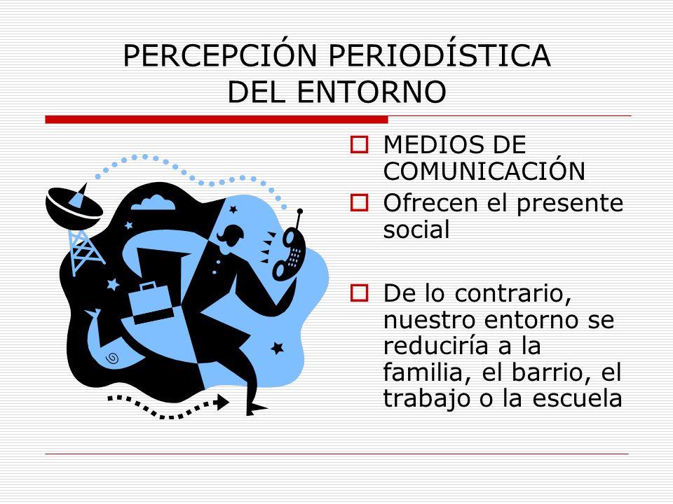 PERCEPCIÓN PERIODÍSTICA DEL ENTORNO MEDIOS DE COMUNICACIÓN ESCOGEN Y MONTAN RETAZOS DEL ENTORNO SOCIAL Y COLABORAN A FORMAR UNA IMAGEN DEL PRESENTE SOCIAL