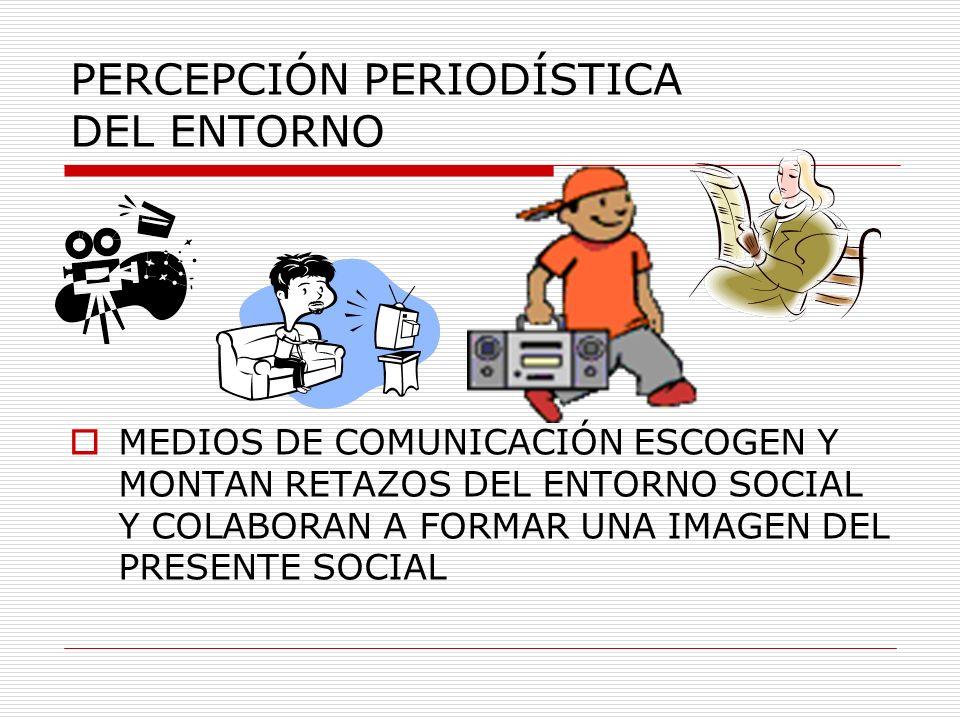 PERCEPCIÓN PERIODÍSTICA DEL ENTORNO MEDIOS DE COMUNICACIÓN ESCOGEN Y MONTAN RETAZOS DEL ENTORNO SOCIAL Y COLABORAN A FORMAR UNA IMAGEN DEL PRESENTE SO