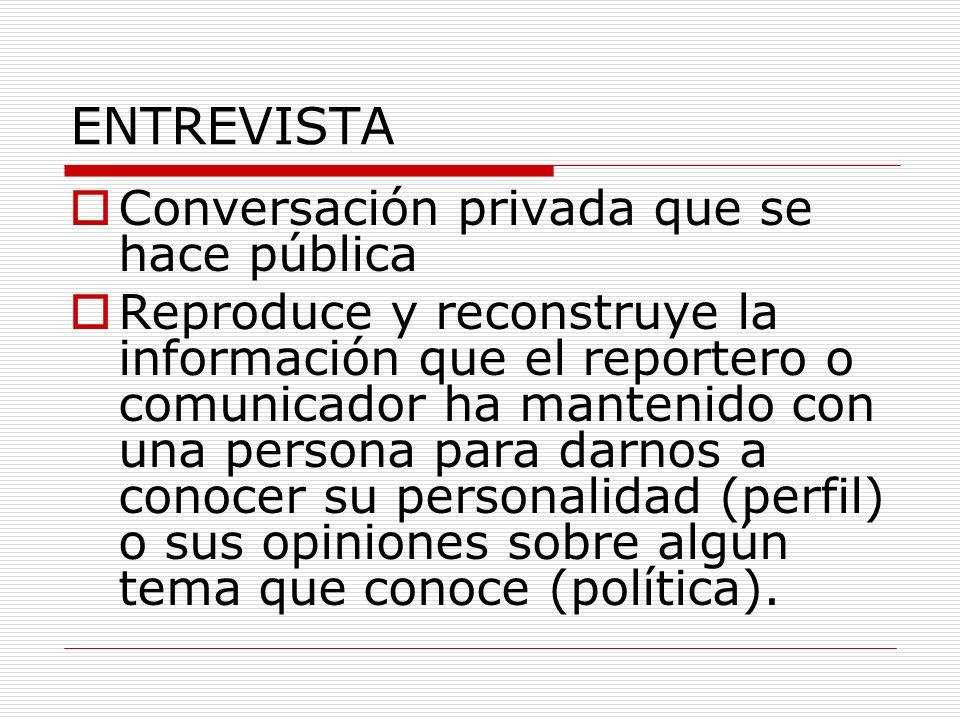 ENTREVISTA Conversación privada que se hace pública Reproduce y reconstruye la información que el reportero o comunicador ha mantenido con una persona