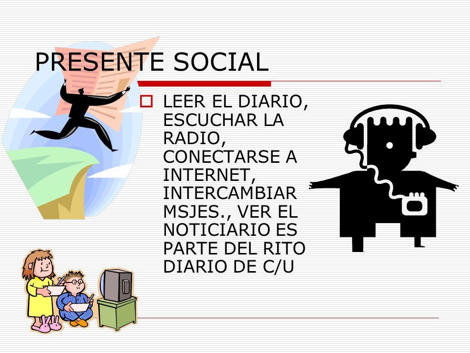 PRESENTE SOCIAL LEER EL DIARIO, ESCUCHAR LA RADIO, CONECTARSE A INTERNET, INTERCAMBIAR MSJES., VER EL NOTICIARIO ES PARTE DEL RITO DIARIO DE C/U