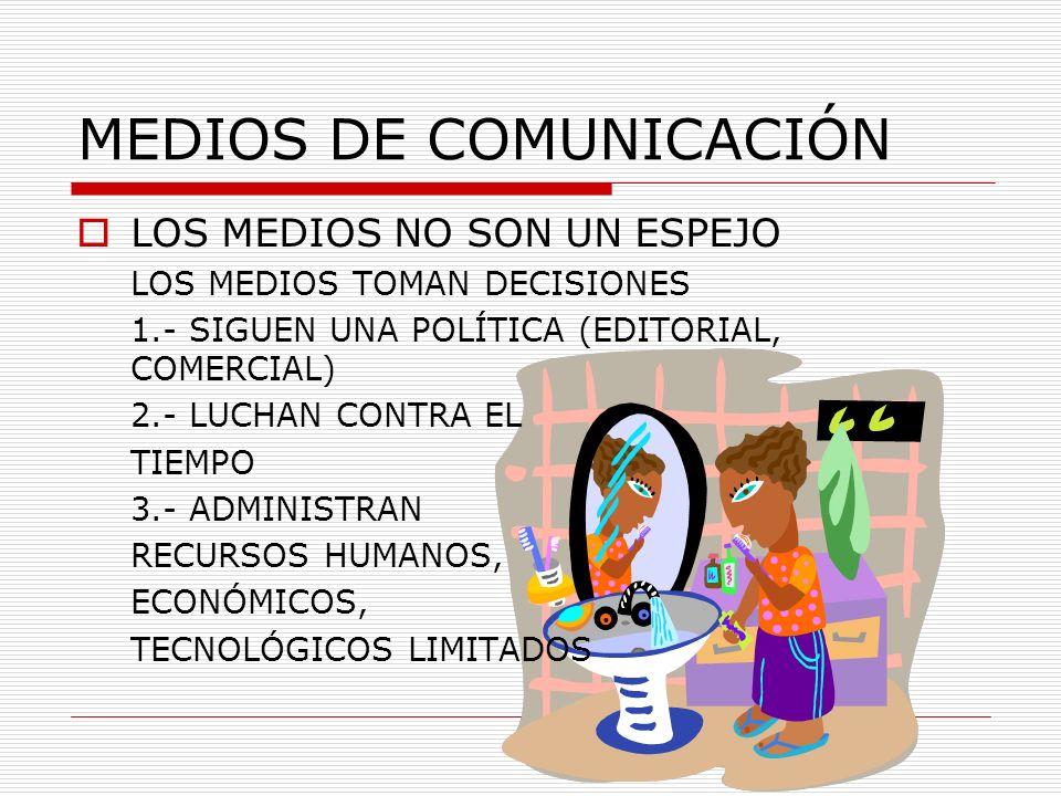 MEDIOS DE COMUNICACIÓN LOS MEDIOS NO SON UN ESPEJO LOS MEDIOS TOMAN DECISIONES 1.- SIGUEN UNA POLÍTICA (EDITORIAL, COMERCIAL) 2.- LUCHAN CONTRA EL TIE