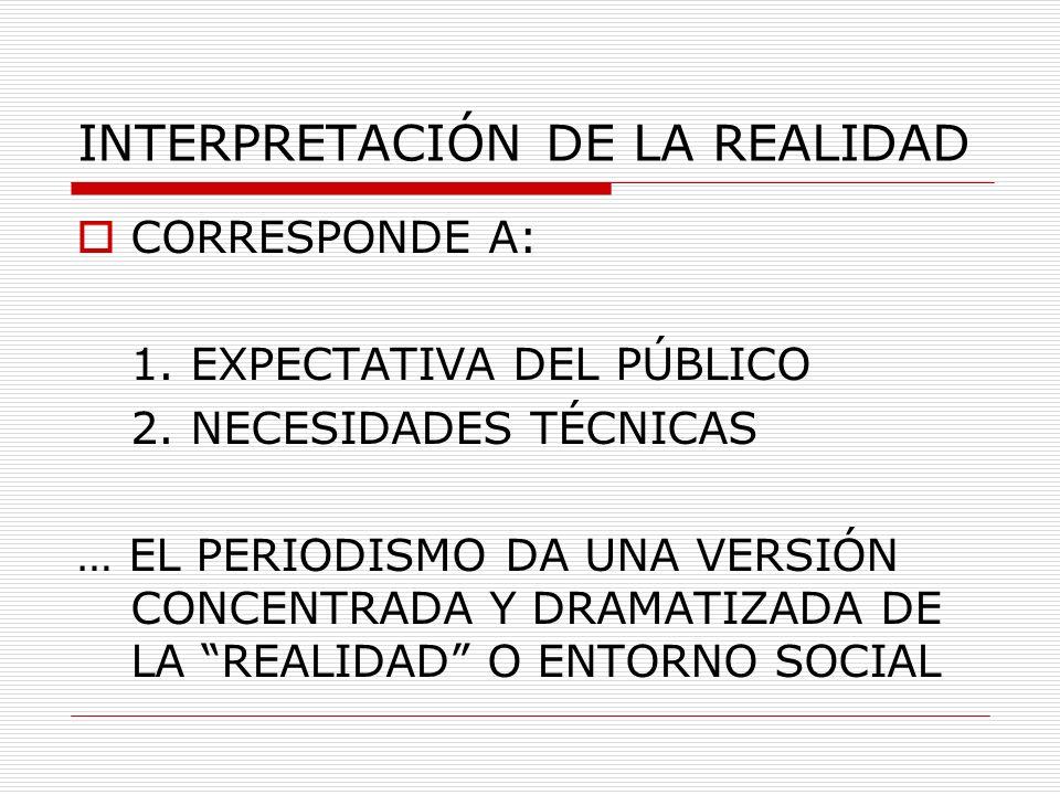 INTERPRETACIÓN DE LA REALIDAD CORRESPONDE A: 1. EXPECTATIVA DEL PÚBLICO 2. NECESIDADES TÉCNICAS … EL PERIODISMO DA UNA VERSIÓN CONCENTRADA Y DRAMATIZA