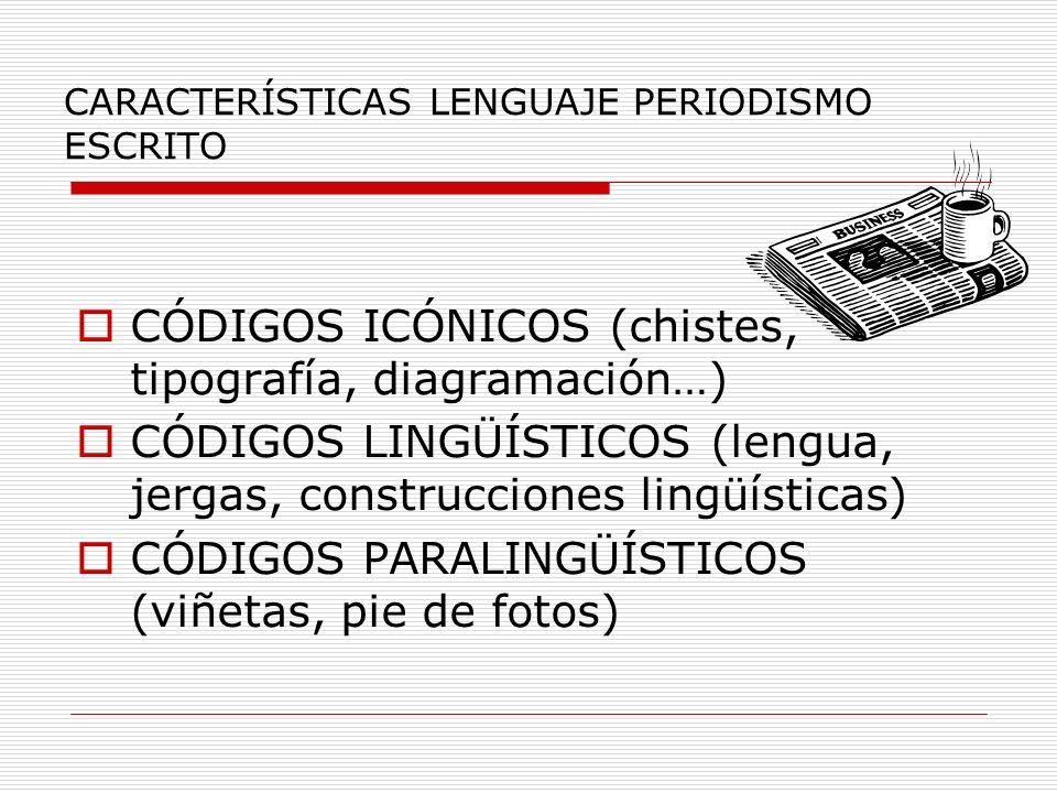 CARACTERÍSTICAS LENGUAJE PERIODISMO ESCRITO CÓDIGOS ICÓNICOS (chistes, tipografía, diagramación…) CÓDIGOS LINGÜÍSTICOS (lengua, jergas, construcciones