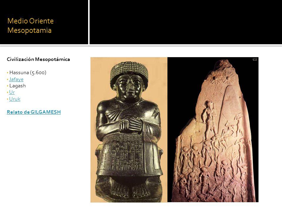 Medio Oriente Mesopotamia Civilización Mesopotámica Hassuna (5.600) Jafaye Lagash Ur Uruk Relato de GILGAMESH