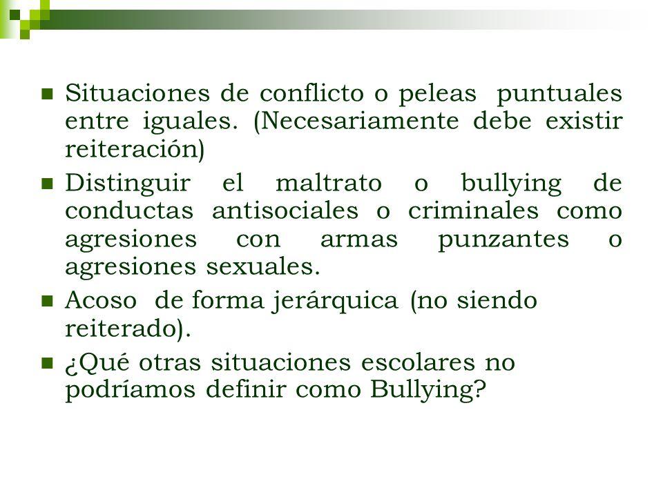 Situaciones de conflicto o peleas puntuales entre iguales. (Necesariamente debe existir reiteración) Distinguir el maltrato o bullying de conductas an
