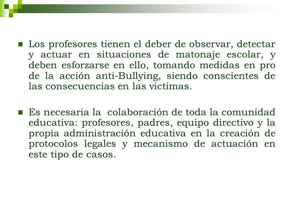 Los profesores tienen el deber de observar, detectar y actuar en situaciones de matonaje escolar, y deben esforzarse en ello, tomando medidas en pro d