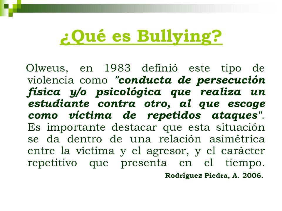 ¿Qué es Bullying? Olweus, en 1983 definió este tipo de violencia como