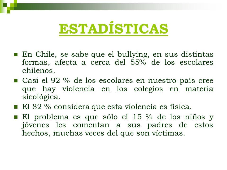 ESTADÍSTICAS En Chile, se sabe que el bullying, en sus distintas formas, afecta a cerca del 55% de los escolares chilenos. Casi el 92 % de los escolar