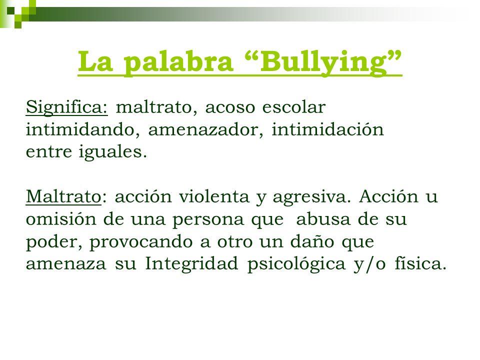 La palabra Bullying Significa: maltrato, acoso escolar intimidando, amenazador, intimidación entre iguales. Maltrato: acción violenta y agresiva. Acci
