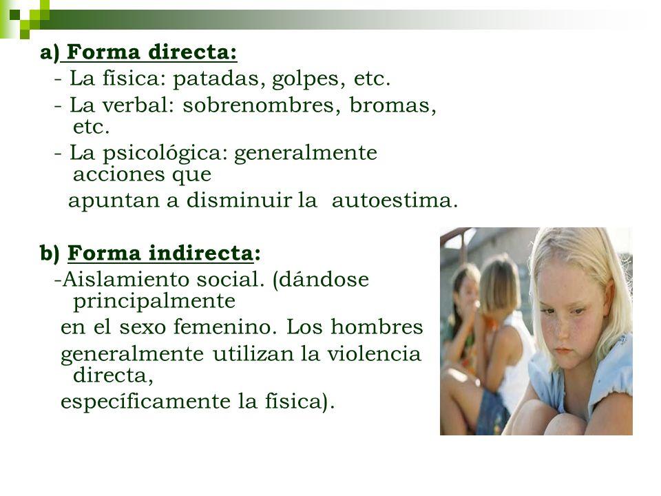 a) Forma directa: - La física: patadas, golpes, etc. - La verbal: sobrenombres, bromas, etc. - La psicológica: generalmente acciones que apuntan a dis