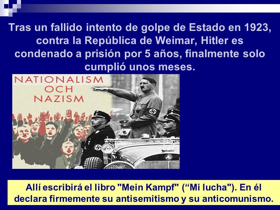 Tras un fallido intento de golpe de Estado en 1923, contra la República de Weimar, Hitler es condenado a prisión por 5 años, finalmente solo cumplió u