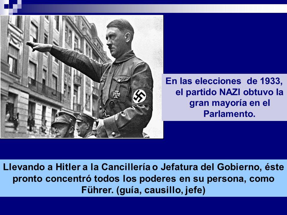 Hitler fue nombrado canciller En las elecciones de 1933, el partido NAZI obtuvo la gran mayoría en el Parlamento. Llevando a Hitler a la Cancillería o