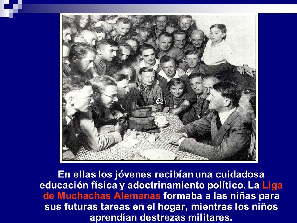En ellas los jóvenes recibían una cuidadosa educación física y adoctrinamiento político. La Liga de Muchachas Alemanas formaba a las niñas para sus fu