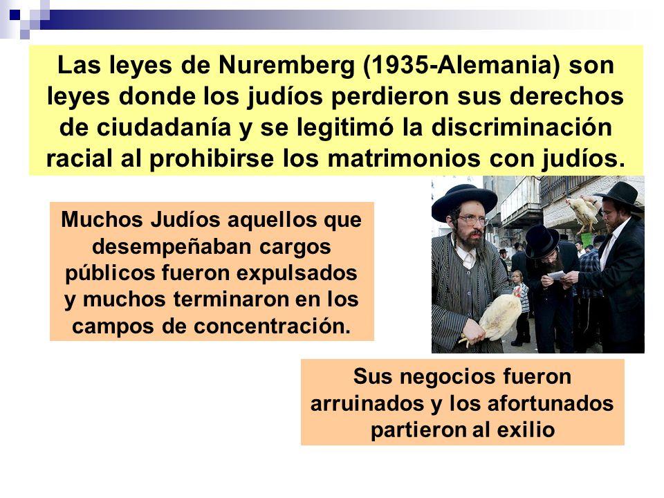 Las leyes de Nuremberg (1935-Alemania) son leyes donde los judíos perdieron sus derechos de ciudadanía y se legitimó la discriminación racial al prohi