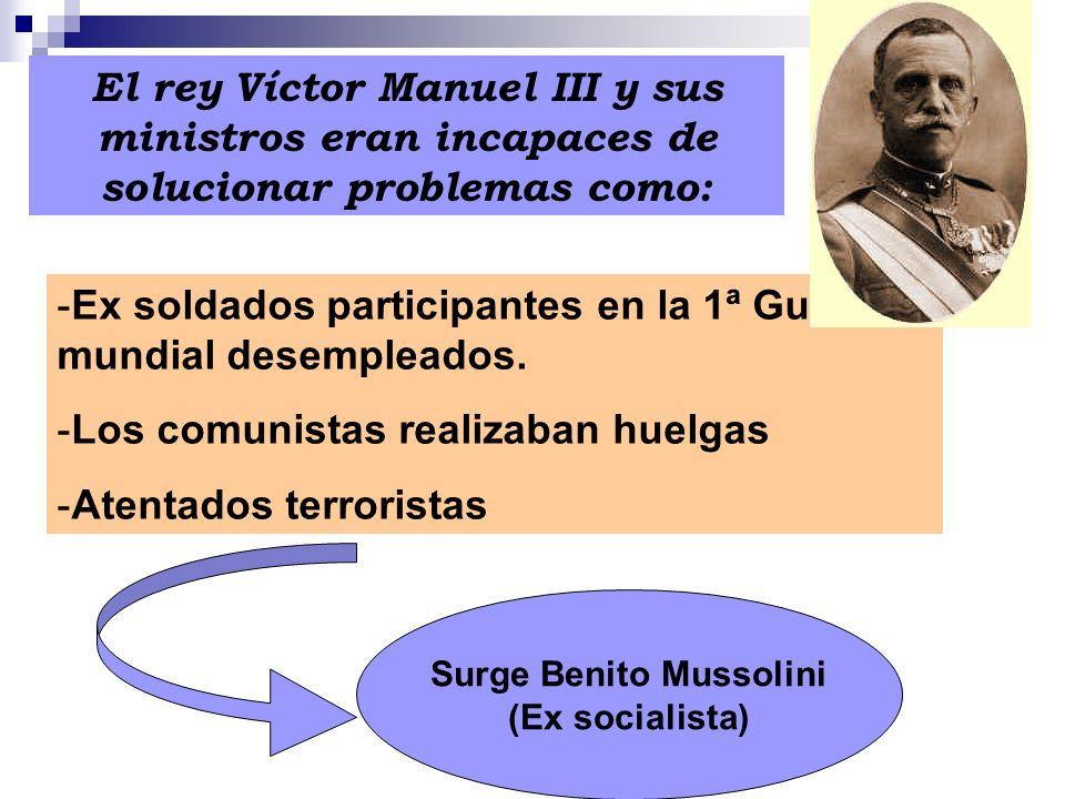El rey Víctor Manuel III y sus ministros eran incapaces de solucionar problemas como: -Ex soldados participantes en la 1ª Guerra mundial desempleados.