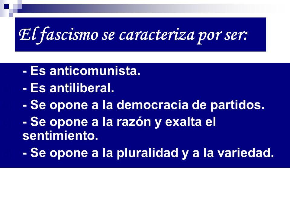 - Es anticomunista. a) - Es antiliberal. b) - Se opone a la democracia de partidos. c) - Se opone a la razón y exalta el sentimiento. d) - Se opone a
