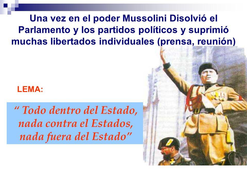 Una vez en el poder Mussolini Disolvió el Parlamento y los partidos políticos y suprimió muchas libertados individuales (prensa, reunión) LEMA: Todo d