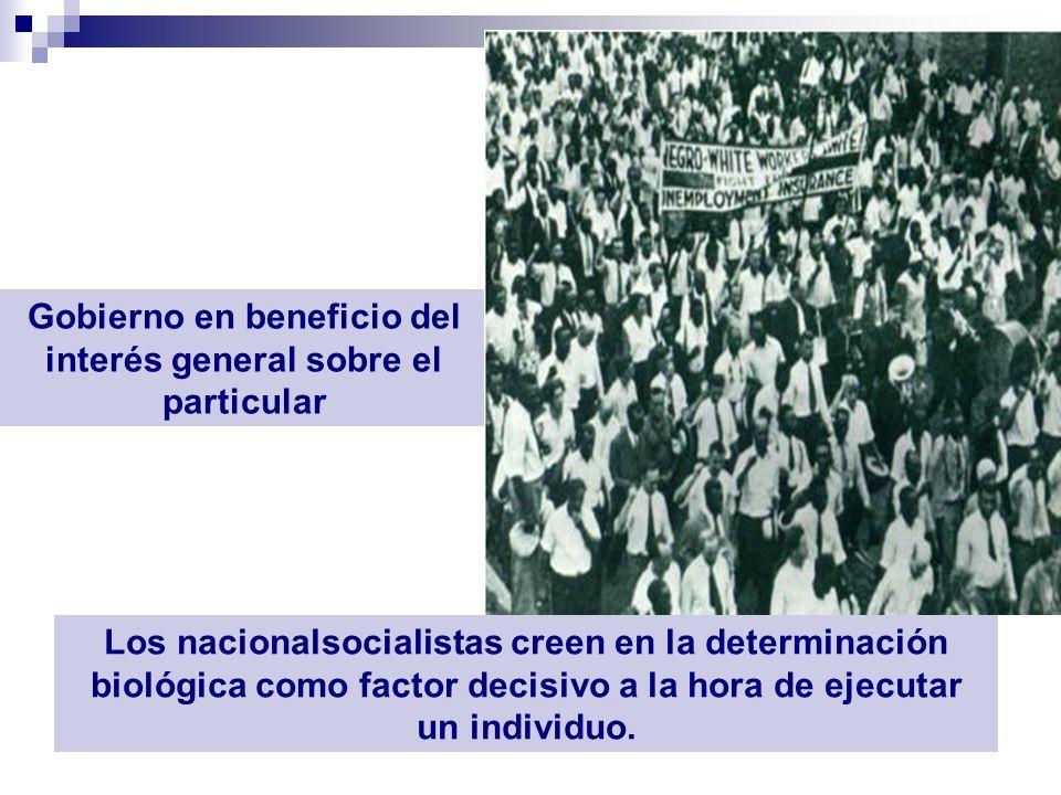 Gobierno en beneficio del interés general sobre el particular Los nacionalsocialistas creen en la determinación biológica como factor decisivo a la ho