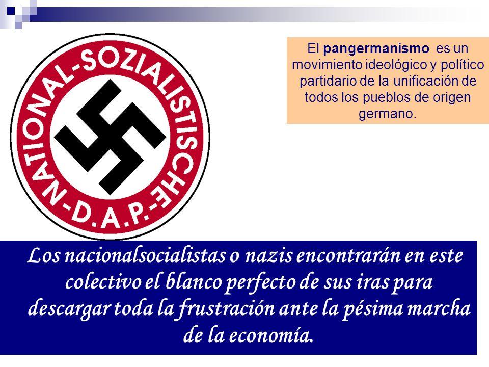 Los nacionalsocialistas o nazis encontrarán en este colectivo el blanco perfecto de sus iras para descargar toda la frustración ante la pésima marcha