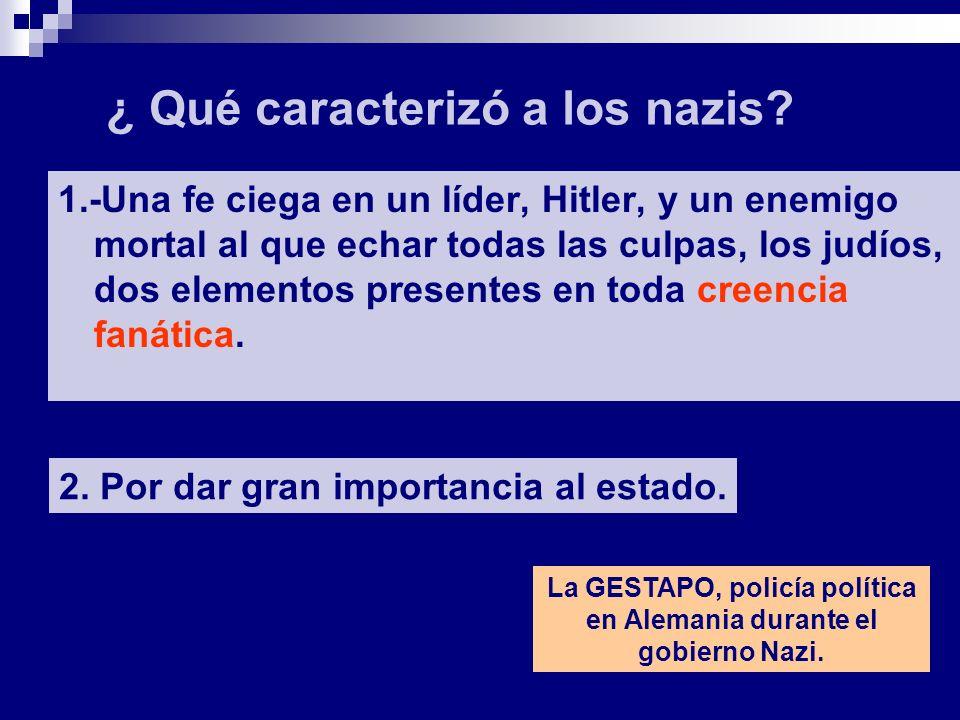 1.-Una fe ciega en un líder, Hitler, y un enemigo mortal al que echar todas las culpas, los judíos, dos elementos presentes en toda creencia fanática.