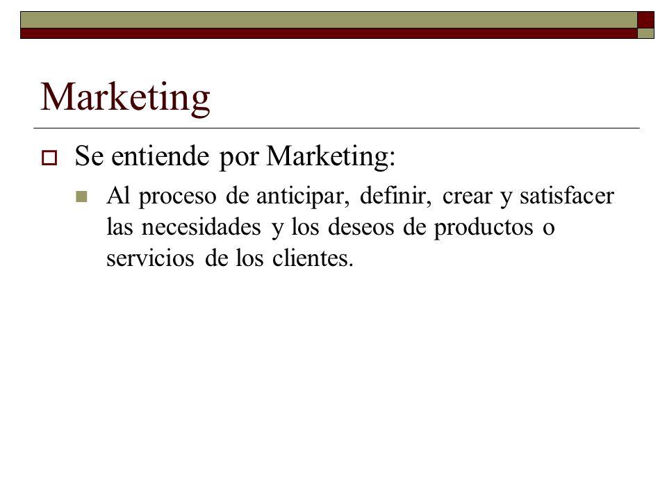 Marketing Se entiende por Marketing: Al proceso de anticipar, definir, crear y satisfacer las necesidades y los deseos de productos o servicios de los