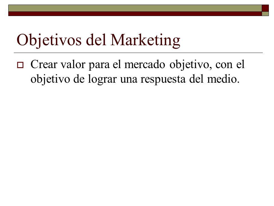 Objetivos del Marketing Crear valor para el mercado objetivo, con el objetivo de lograr una respuesta del medio.