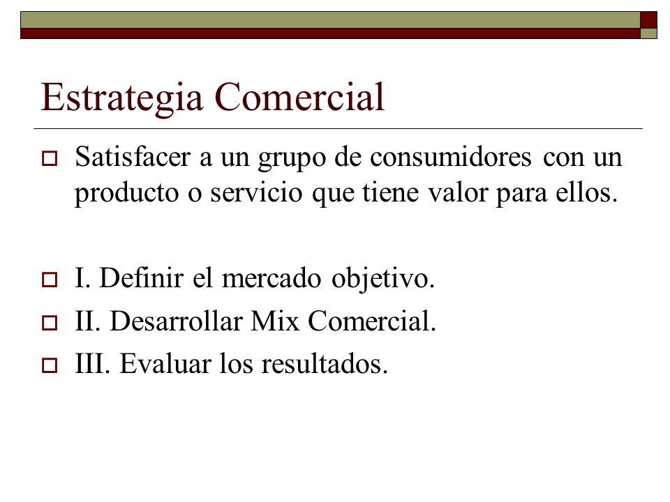 Estrategia Comercial Satisfacer a un grupo de consumidores con un producto o servicio que tiene valor para ellos. I. Definir el mercado objetivo. II.