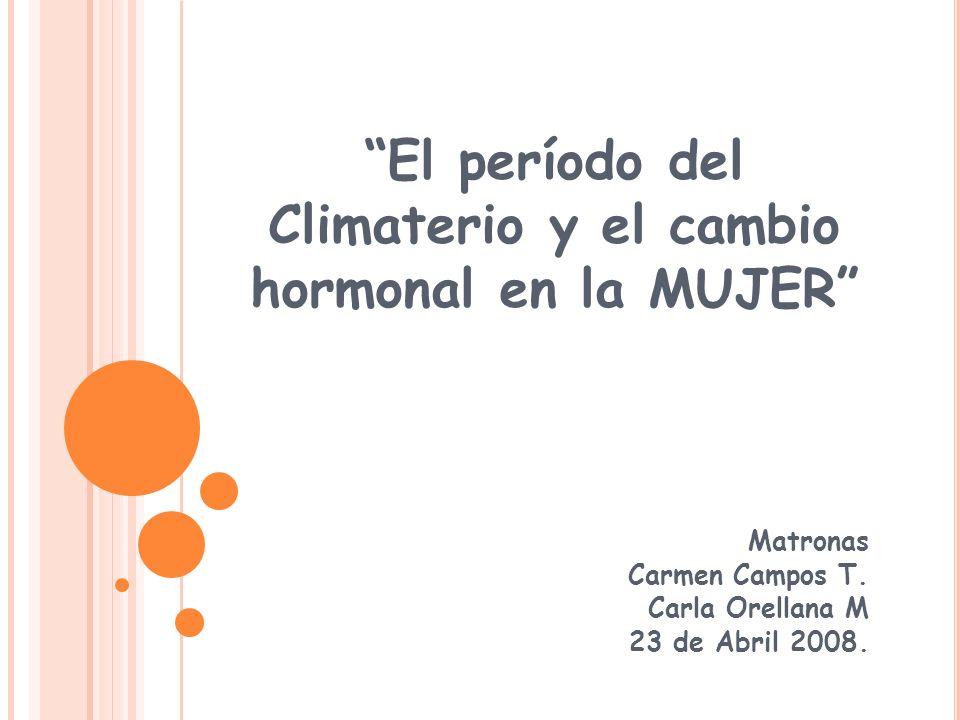 El período del Climaterio y el cambio hormonal en la MUJER Matronas Carmen Campos T. Carla Orellana M 23 de Abril 2008.