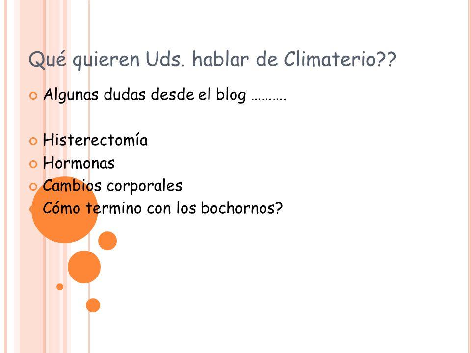 Qué quieren Uds. hablar de Climaterio?? Algunas dudas desde el blog ………. Histerectomía Hormonas Cambios corporales Cómo termino con los bochornos?