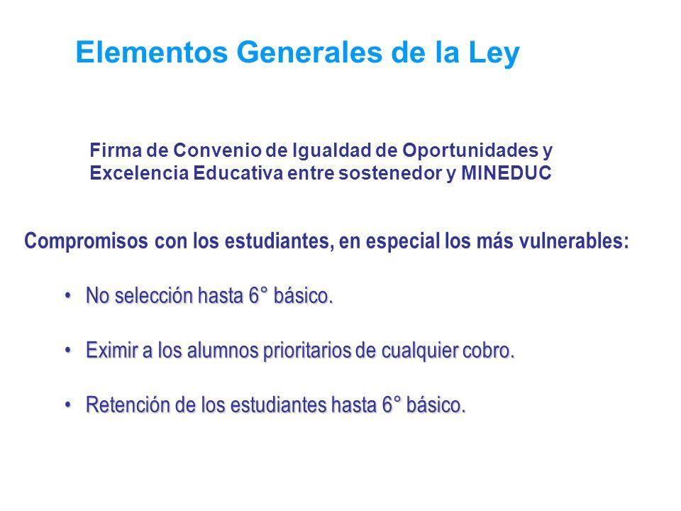 Elementos Generales de la Ley Compromisos con los estudiantes, en especial los más vulnerables: No selección hasta 6° básico.No selección hasta 6° bás