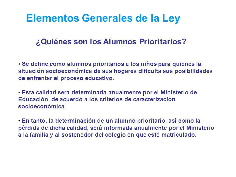 Elementos Generales de la Ley ¿Quiénes son los Alumnos Prioritarios? Se define como alumnos prioritarios a los niños para quienes la situación socioec