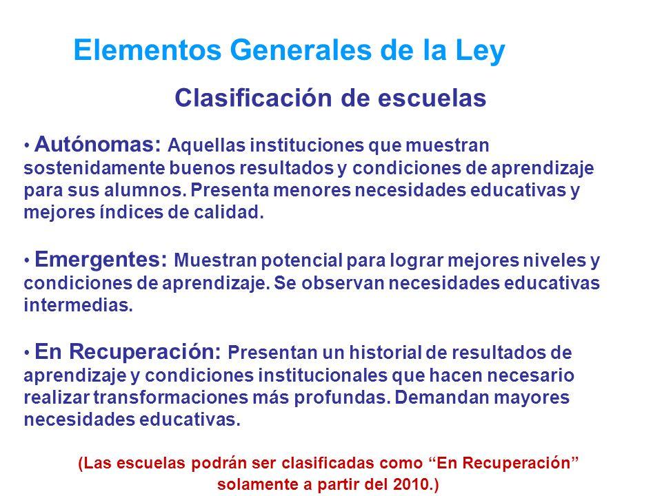 Elementos Generales de la Ley Autónomas: Aquellas instituciones que muestran sostenidamente buenos resultados y condiciones de aprendizaje para sus alumnos.