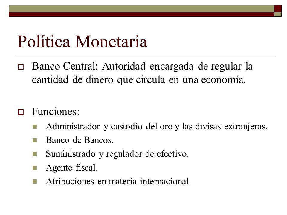 Banco Central: Autoridad encargada de regular la cantidad de dinero que circula en una economía.