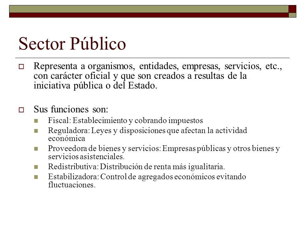 Sector Público Representa a organismos, entidades, empresas, servicios, etc., con carácter oficial y que son creados a resultas de la iniciativa pública o del Estado.