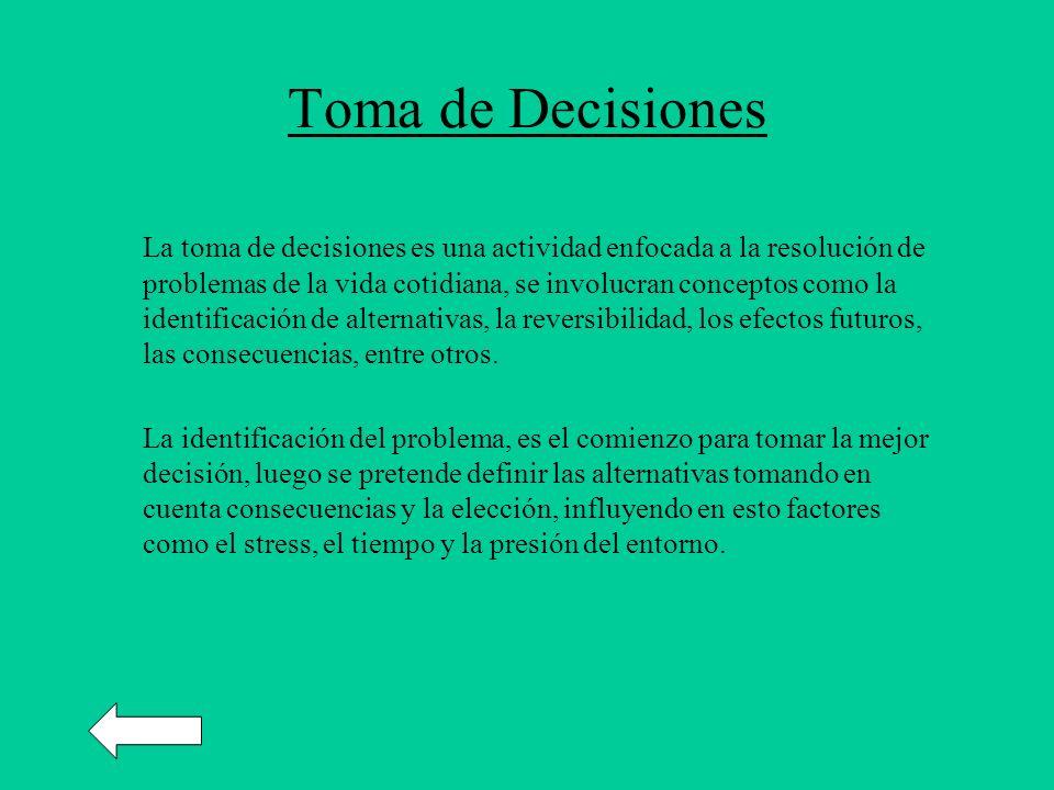 Toma de Decisiones La toma de decisiones es una actividad enfocada a la resolución de problemas de la vida cotidiana, se involucran conceptos como la identificación de alternativas, la reversibilidad, los efectos futuros, las consecuencias, entre otros.