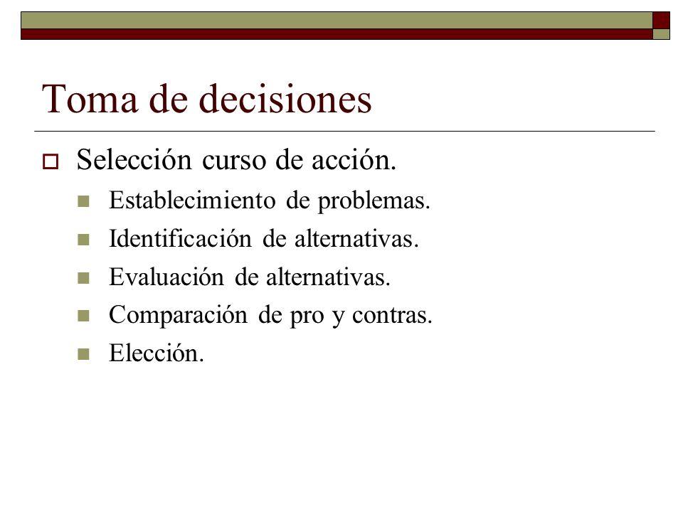 Toma de decisiones Selección curso de acción. Establecimiento de problemas.
